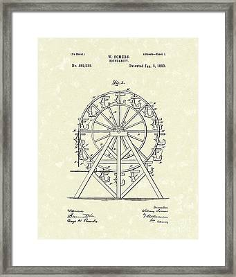 Roundabout 1893 Patent Art  Framed Print by Prior Art Design