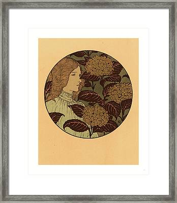 Roundel Portrait Of A Girl, French, 1841  1917 Framed Print