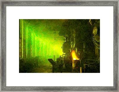 Framed Print featuring the digital art Roundhouse Morning by Chuck Mountain