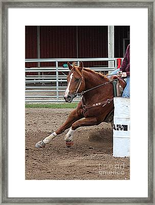 Framed Print featuring the photograph Rounding Third by Ann E Robson