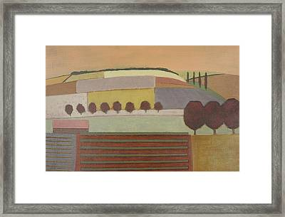 Roussillon Landscape Oil On Canvas Framed Print by Eric Hains