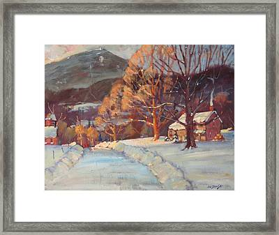 Framed Print featuring the painting Route 116 Savoy by Len Stomski