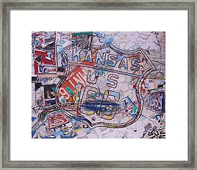 Kansas Route 166  Zip Line Type Framed Print by Phil Jackson