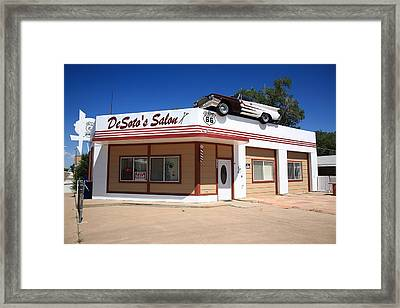 Route 66 - Desoto's Salon Framed Print by Frank Romeo