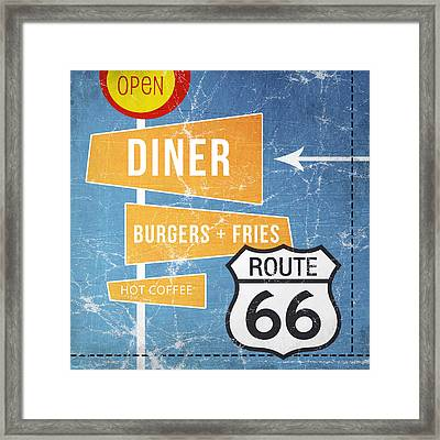 Route 66 Diner Framed Print by Linda Woods