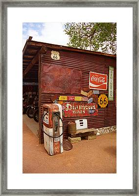 Route 66 Garage And Pump Framed Print by Frank Romeo