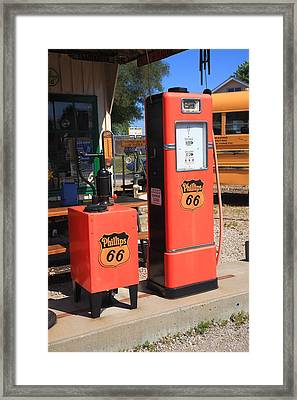 Route 66 Gas Pumps Framed Print by Frank Romeo