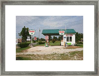Route 66 Gas Station With Sponge Painting Effect Framed Print