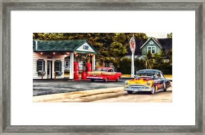 Route 66 Historic Texaco Gas Station Framed Print by Thomas Woolworth