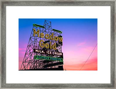 Route 66 Meadow Gold Neon Sign - Tulsa Oklahoma Framed Print by Gregory Ballos