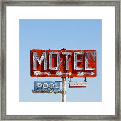 Route 66 Motel Sign Framed Print by Art Block Collections