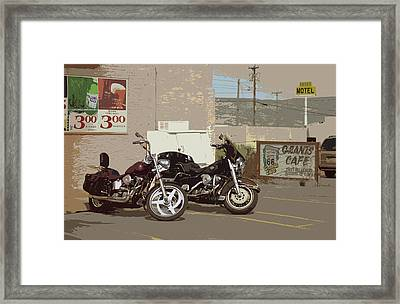 Route 66 Motorcycles With A Dry Brush Effect Framed Print by Frank Romeo