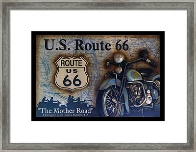 Route 66 Odell Il Gas Station Motorcycle Signage Framed Print