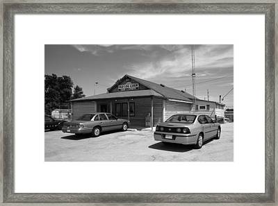 Route 66 - Old Log Cabin Framed Print by Frank Romeo