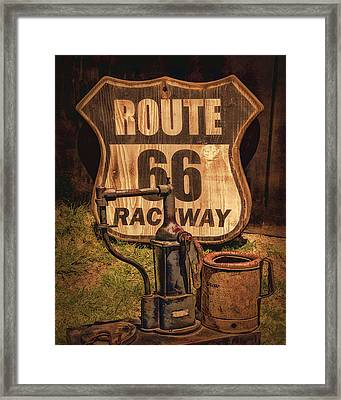 Route 66 Raceway Framed Print by Priscilla Burgers