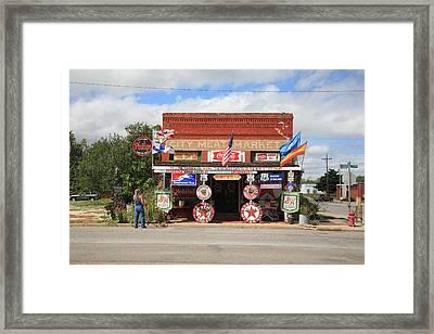 Route 66 - Sandhills Curiosity Shop Framed Print by Frank Romeo