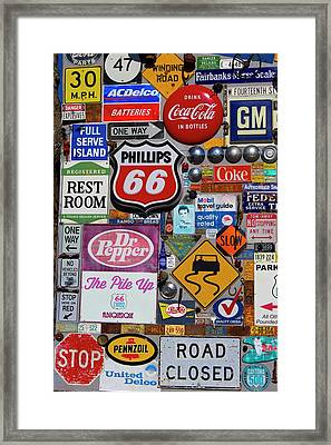 Route 66 Signage Display Framed Print