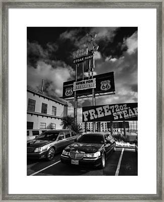 Route 66 - The Big Texan 001 Bw Framed Print