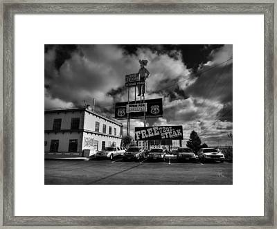 Route 66 - The Big Texan 002 Bw Framed Print