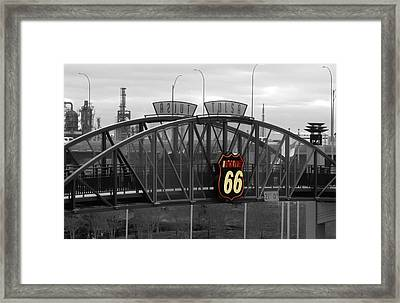 Route 66 Tulsa Sign Bw Splash Framed Print