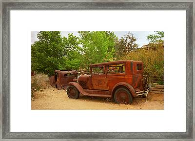 Route 66 Vintage Auto Framed Print by Frank Romeo