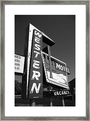 Route 66 - Western Motel 7 Framed Print by Frank Romeo