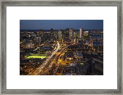 Route 93 Into Boston At Night. Framed Print