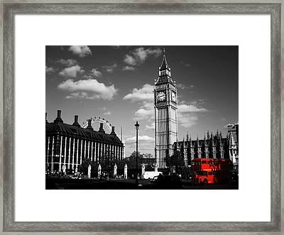 Routemaster Bus On Black And White Background Framed Print
