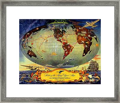 Routes Of The Flying Clipper Ships Framed Print by Pg Reproductions