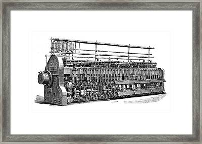 Roving Frame Cotton Spinner Framed Print by Science Photo Library