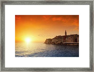 Rovinj By Sunset Framed Print by Focusstock