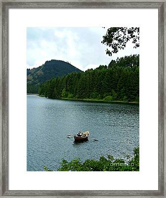 Framed Print featuring the photograph Row Boat At Dorena Lake  by Mindy Bench