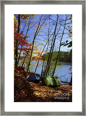 Framed Print featuring the photograph Row Boats Along Croton Reservoir - Ny by Rafael Quirindongo