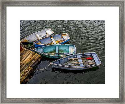 Row Boats At Dock Framed Print