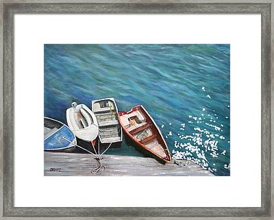 Framed Print featuring the painting Row Boats At Dock by Sandra Nardone