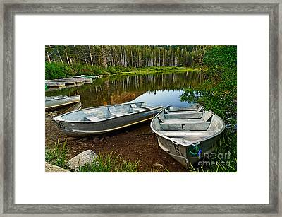 Row Boats Lining A Lake In Mammoth Lakes California Framed Print by Jamie Pham