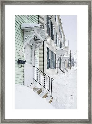 Row Houses On A Snowy Day Framed Print
