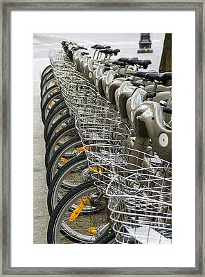 Row Of Bicycles Framed Print by Carlos Caetano
