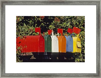 Row Of Colorful Mailboxes Framed Print by David Litschel