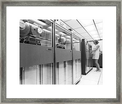 Row Of Computer Tape Drives Framed Print
