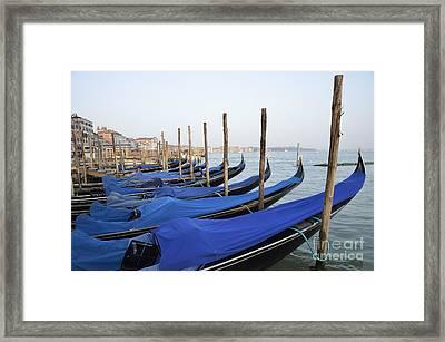 Row Of Empty Moored Gondolas Framed Print by Sami Sarkis