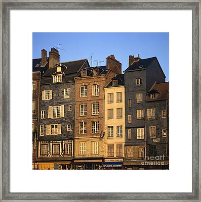 Row Of Houses. Honfleur Harbour. Calvados. Normandy. France. Europe Framed Print by Bernard Jaubert
