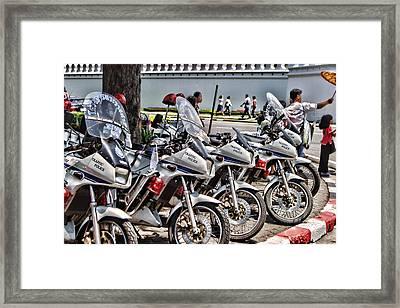 Row Of Police Bikes Framed Print