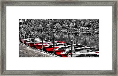 Row Of Red Rowing Boats Framed Print by Kaye Menner