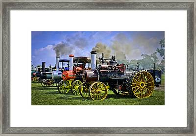 Row Of Russell Steam Tractors Framed Print by F Leblanc