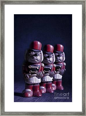 Row Of Three Ceramic Mice Framed Print by Amanda Elwell