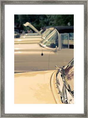 Row Of Vintage Cars Framed Print by Edward Fielding