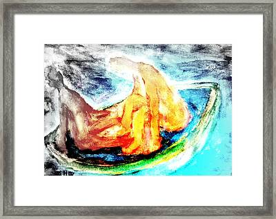 in a boat with you, my love, I will soon forget all about who I am   Framed Print by Hilde Widerberg
