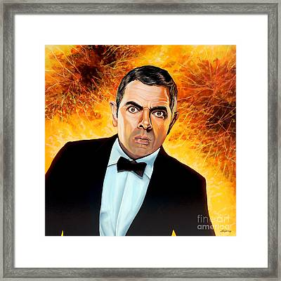Rowan Atkinson Alias Johnny English Framed Print by Paul Meijering