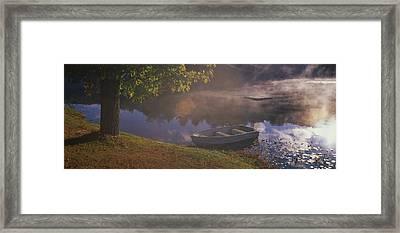Rowboat Lake Nh Framed Print by Panoramic Images